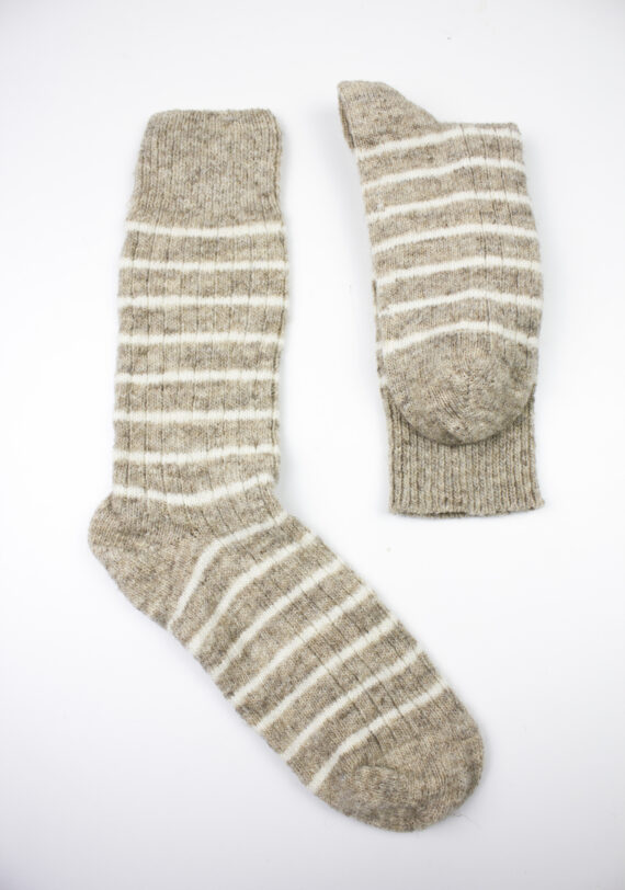 Chaussettes rayées pure laine Made in France