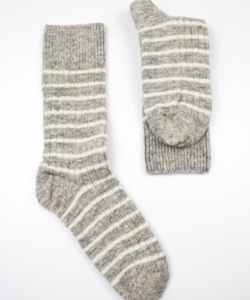 Chaussettes grises rayées pure laine Made in France