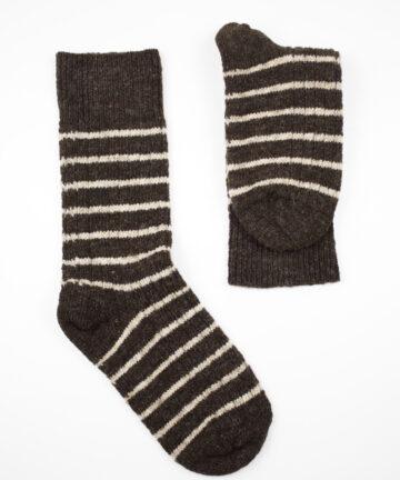 Chaussettes rayées pure laine française