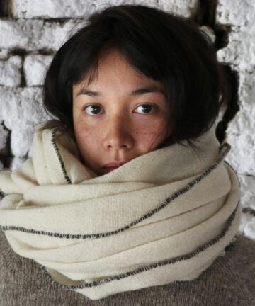 Châle artisanal pure laine Mérinos