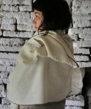 Châle artisanal tissé main pure laine mérinos