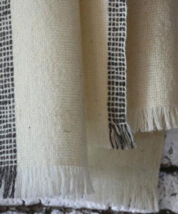 Écharpe pure laine mérinos tissée main