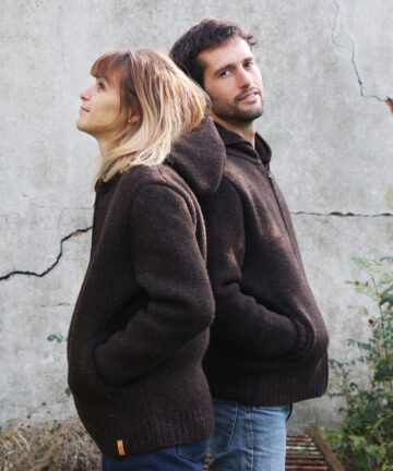 Veste capuche mixte pure laine Made in France