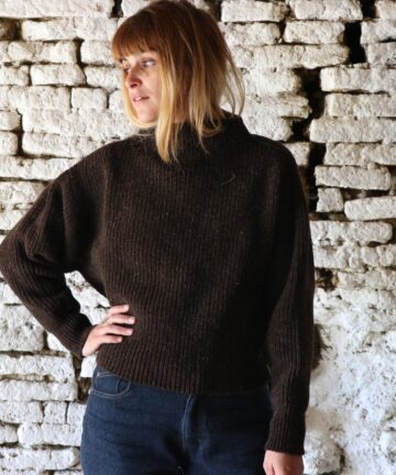 Pull femme col montant pure laine France
