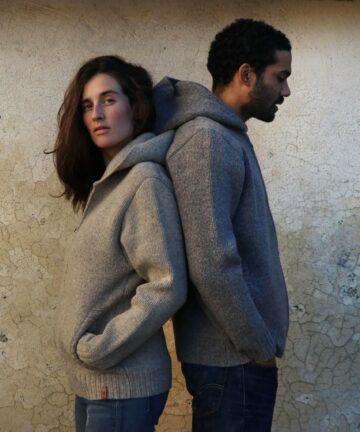 veste à capuche décontractée pure laine