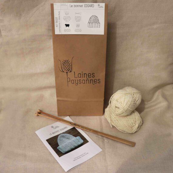 Kit tricot bonnet pure laine bio
