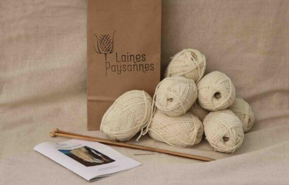 Pullover laine à tricoter laine bio française