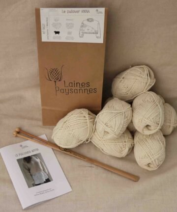 Kit tricot pullover femme pure laine bio