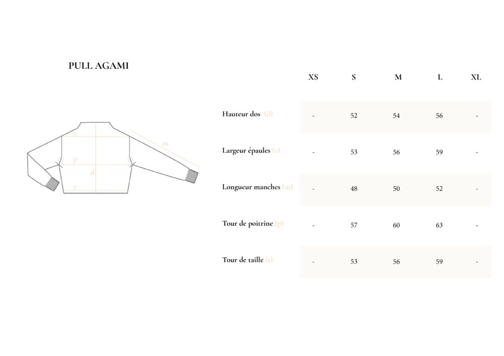 Guide taille pull agami