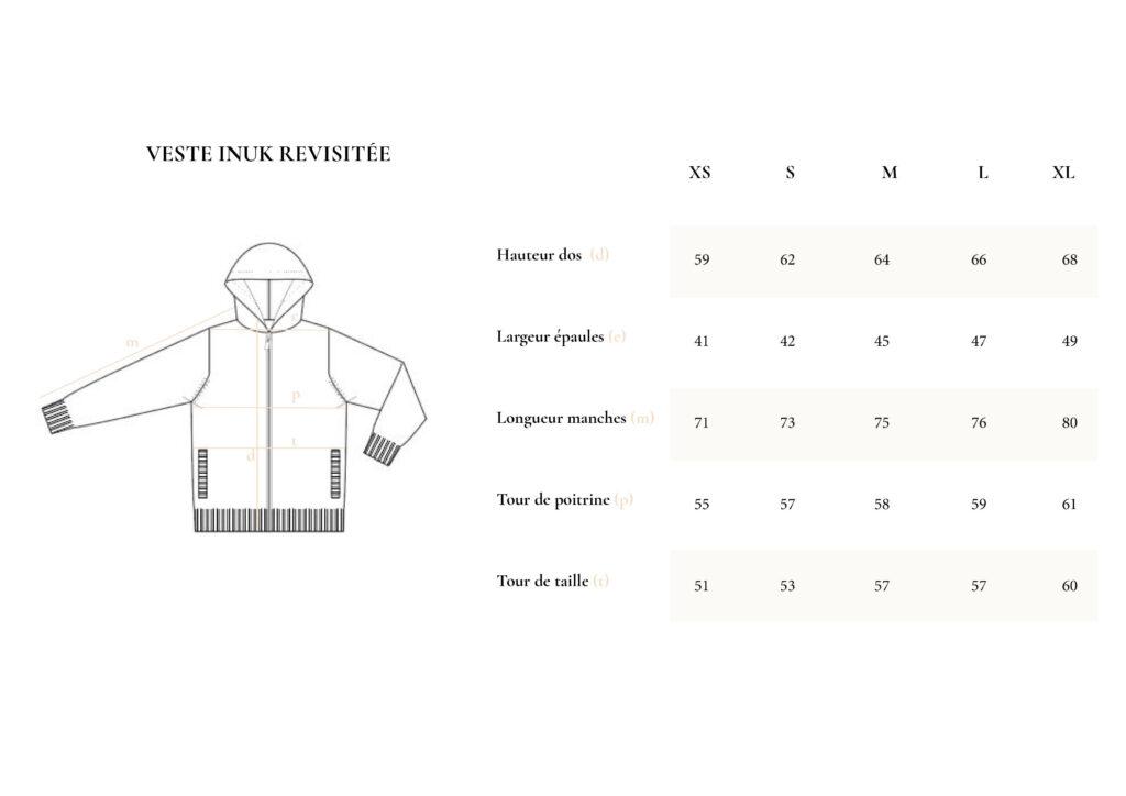 Guide taille veste inuk