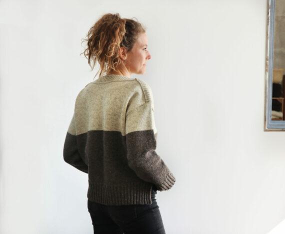 Pull femme laine française color block