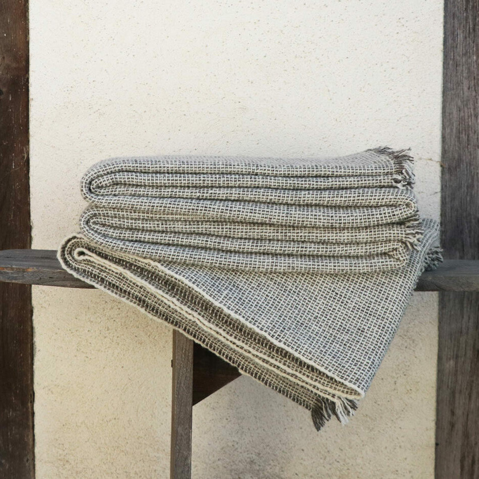 Plaid pure laine tricoté main