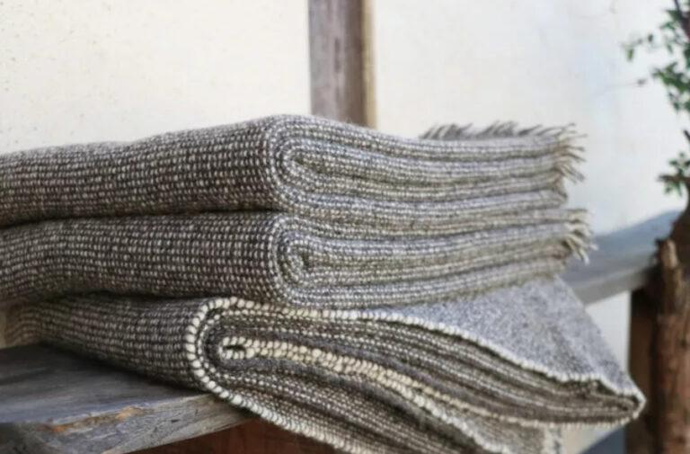 Plaid gris pure laine française