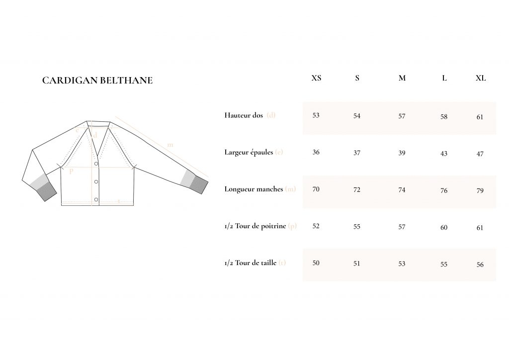 Guide des tailles Cardigan Belthane