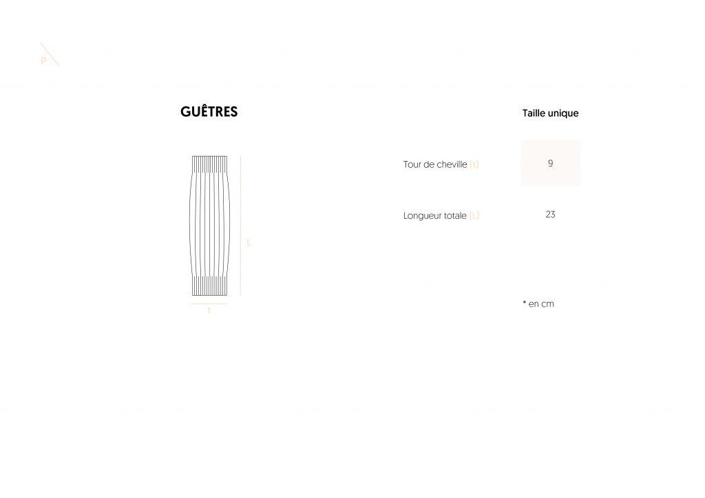 Guide des tailles Guêtres